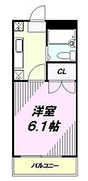 京王高尾線 めじろ台駅 バス10分 寺田センター下車 徒歩2分の賃貸マンション 2階1Kの間取り
