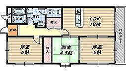 大阪府高石市西取石7丁目の賃貸マンションの間取り