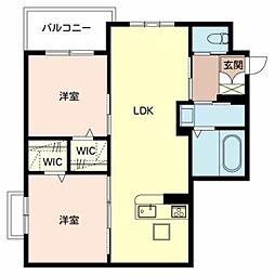 シャーメゾン桜須磨寺 2階2LDKの間取り