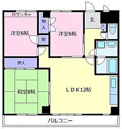 メロディハイツ[4階]の間取り