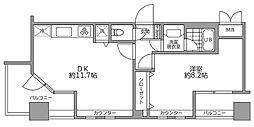 サンパティーク広尾 12階1DKの間取り