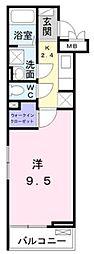 小田急江ノ島線 東林間駅 徒歩9分の賃貸アパート 3階1Kの間取り
