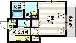 京急空港線 大鳥居駅 徒歩7分の賃貸マンション 1階1Kの間取り