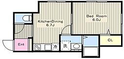 JR横浜線 町田駅 徒歩14分の賃貸アパート 1階1DKの間取り