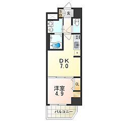 Osaka Metro御堂筋線 昭和町駅 徒歩4分の賃貸マンション 4階1DKの間取り