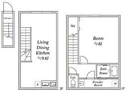 東急田園都市線 桜新町駅 徒歩6分の賃貸アパート 2階1LDKの間取り