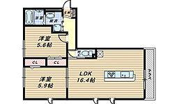 ムーランアヴァンD[3階]の間取り
