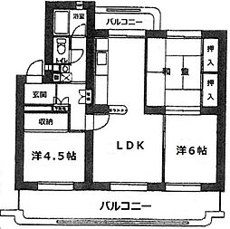 下長尾住宅 三号棟[333号室]の間取り