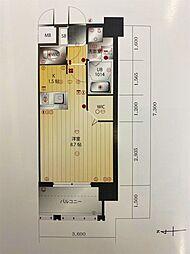 ラファセエスペランサ大濠 7階1Kの間取り