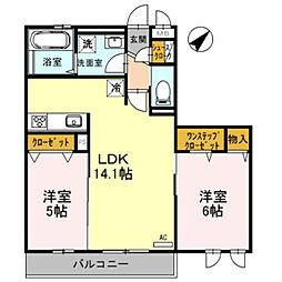 大阪府堺市中区大野芝町の賃貸マンションの間取り