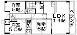 リバージュII[6階]の間取り