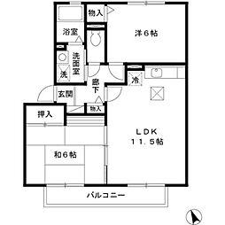 アドミラーブルB棟[1階]の間取り