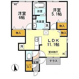 愛知県豊橋市西岩田1丁目の賃貸アパートの間取り