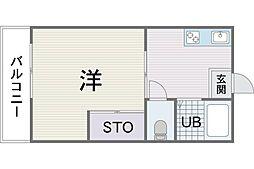 ハイツ新宮苑 3階1Kの間取り