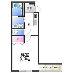 フジパレス中加賀屋III番館 3階1Kの間取り