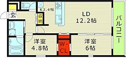 Osaka Metro今里筋線 新森古市駅 徒歩3分の賃貸マンション 2階2LDKの間取り