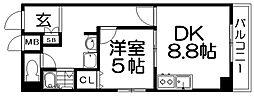 JR片町線(学研都市線) 津田駅 徒歩5分の賃貸マンション 6階1DKの間取り