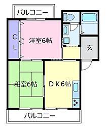 大阪府松原市三宅東1の賃貸マンションの間取り