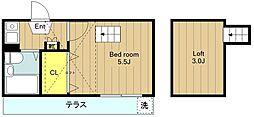 神奈川県大和市西鶴間5丁目の賃貸アパートの間取り
