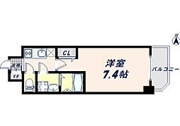JR大阪環状線 寺田町駅 徒歩8分の賃貸マンション 11階1Kの間取り