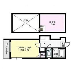 福岡県福岡市中央区平尾4丁目の賃貸アパートの間取り