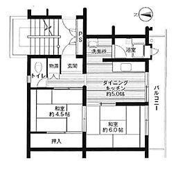 ビレッジハウス広江 4号棟[201号室]の間取り