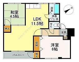 富士本コーポ 1階2LDKの間取り