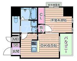 おおさか東線 南吹田駅 徒歩10分の賃貸マンション 5階1DKの間取り