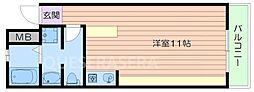 大阪モノレール彩都線 彩都西駅 徒歩20分の賃貸マンション 2階ワンルームの間取り