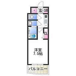 セレニテ日本橋プリエ 12階1Kの間取り