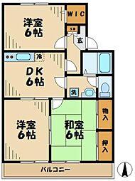 東京都八王子市越野の賃貸アパートの間取り