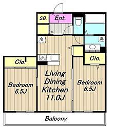 (仮)D-room中央[102号室]の間取り