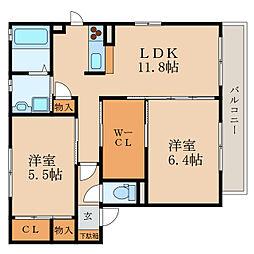 ウィステリア1・2[1階]の間取り