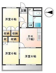 JR東海道本線 豊橋駅 バス20分 曙町下車 徒歩2分の賃貸マンション 3階3DKの間取り