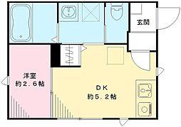 カーサオリーヴァ 1階1DKの間取り