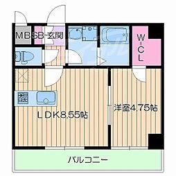 阪急千里線 豊津駅 徒歩7分の賃貸マンション 2階1LDKの間取り