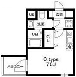 都営浅草線 戸越駅 徒歩6分の賃貸マンション 5階ワンルームの間取り