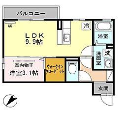 新潟県新発田市大栄町4丁目の賃貸アパートの間取り