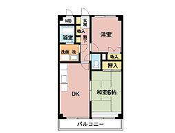 林田マンション[403号室]の間取り