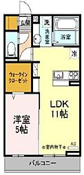 JR青梅線 福生駅 徒歩6分の賃貸アパート 1階1LDKの間取り