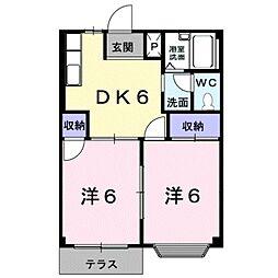 愛知県豊橋市曙町字南松原の賃貸アパートの間取り