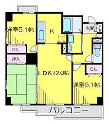 JR川越線 南古谷駅 徒歩4分の賃貸マンション 3階3LDKの間取り