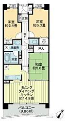 JR京葉線 千葉みなと駅 徒歩3分の賃貸マンション 3階3LDKの間取り