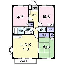 愛知県みよし市三好丘桜1丁目の賃貸アパートの間取り