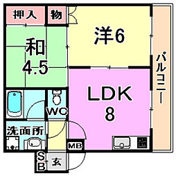 TAKAOマンション 1階2DKの間取り