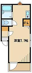 メルディア西生田I 3階ワンルームの間取り