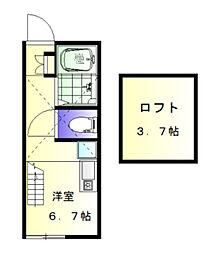 神奈川県横浜市神奈川区松見町3の賃貸アパートの間取り