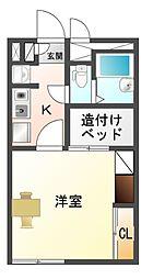 愛知県豊川市一宮町錦の賃貸アパートの間取り
