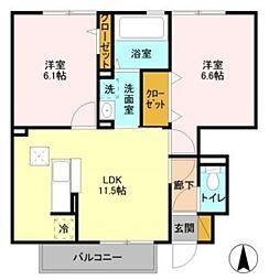 JR総武本線 四街道駅 徒歩25分の賃貸アパート 1階2LDKの間取り