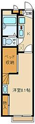 西武新宿線 東村山駅 徒歩20分の賃貸アパート 1階1Kの間取り